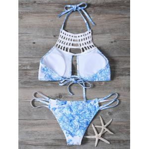 Cut Out Printed String Bikini Set - BLUE S