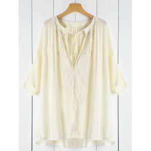 Plunging Neck Lace See-Through Women's Cover-Up - Off-white - One Size