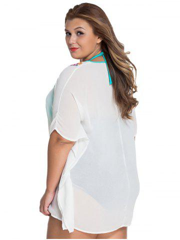 Unique V-Neck Embroidered Tunic Plus Size See-Through Cover-Up - ONE SIZE(FIT SIZE XS TO M) WHITE Mobile