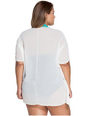 Fashion V-Neck Embroidered Tunic Plus Size See-Through Cover-Up - ONE SIZE(FIT SIZE XS TO M) WHITE Mobile