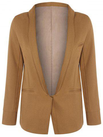Unique Long Front Pockets Blazer - M BROWN Mobile