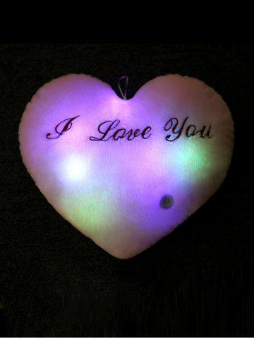 Store Love Heart Shape Variable Color Luminescence Pillow - PINK  Mobile