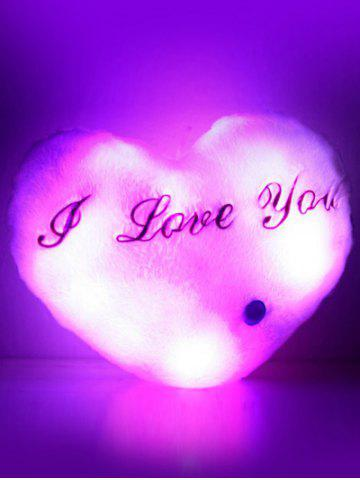 Sale Love Heart Shape Variable Color Luminescence Pillow - PINK  Mobile