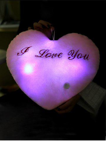 Chic Love Heart Shape Variable Color Luminescence Pillow - PINK  Mobile