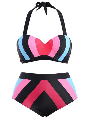 Shop Plus Size High Waisted Contrast Bikini Set BLUE AND PINK 2XL