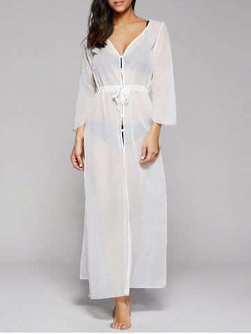 Buy Long Sleeve Long Swimsuit Cover Ups Kimono - ONE SIZE WHITE Mobile