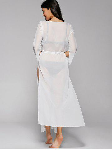 Outfits Long Sleeve Long Swimsuit Cover Ups Kimono - ONE SIZE WHITE Mobile