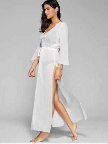 Discount Long Sleeve Long Swimsuit Cover Ups Kimono - ONE SIZE WHITE Mobile