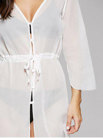 New Long Sleeve Long Swimsuit Cover Ups Kimono - ONE SIZE WHITE Mobile