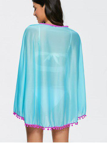 Shop Poncho Fringed Beach Swing Tunic Cover Up Dress - ONE SIZE LAKE BLUE Mobile