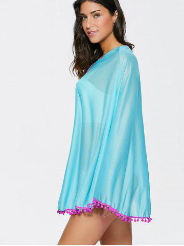 Online Poncho Fringed Beach Swing Tunic Cover Up Dress - ONE SIZE LAKE BLUE Mobile