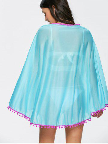 Hot Poncho Fringed Beach Swing Tunic Cover Up Dress - ONE SIZE LAKE BLUE Mobile
