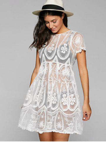 Buy Embroidered Mesh Sheer Dresssy Tunic Cover Up - ONE SIZE WHITE Mobile