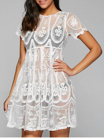 Trendy Embroidered Mesh Sheer Dresssy Tunic Cover Up - ONE SIZE WHITE Mobile