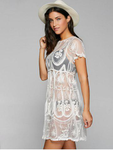 Discount Embroidered Mesh Sheer Dresssy Tunic Cover Up - ONE SIZE WHITE Mobile