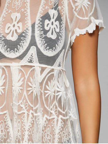 Fancy Embroidered Mesh Sheer Dresssy Tunic Cover Up - ONE SIZE WHITE Mobile