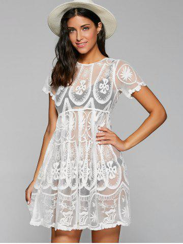 Sale Embroidered Mesh Sheer Dresssy Tunic Cover Up - ONE SIZE WHITE Mobile
