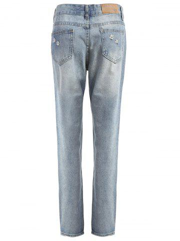 Hot Figure Print Distressed Jeans - M CLOUDY Mobile