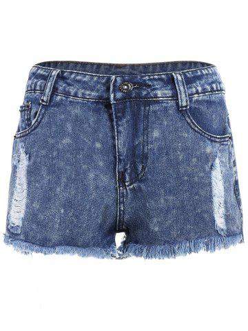 Shops Ripped High Waisted Jeans Shorts DEEP BLUE S