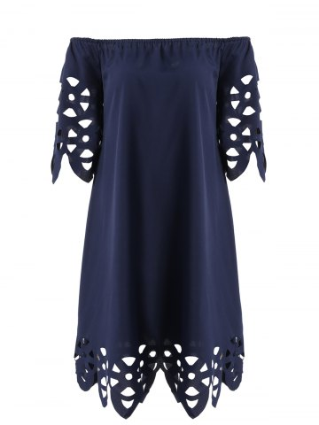 Outfits Openwork Off-The-Shoulder Shift Casual Dress Day PURPLISH BLUE XL