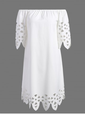 Openwork Off-The-Shoulder Shift Casual Dress Day - White - S