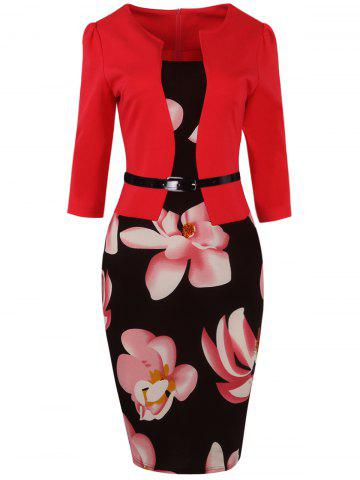Floral Jacket Look Pencil Dress - RED 4XL