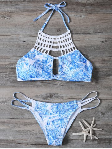 Store Cut Out Printed String Bikini Set BLUE S