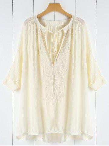 Plunging Neck Lace See-Through Women's Cover-Up