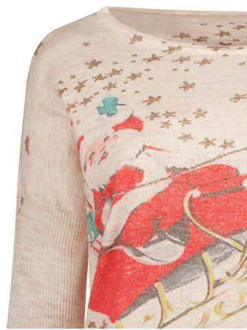 Outfits Long Sleeve Christmas Deer Jumper - ONE SIZE(FIT SIZE XS TO M) BEIGE Mobile