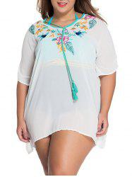 V-Neck Embroidered Tunic Plus Size See-Through Cover-Up -