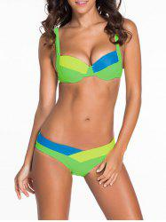 Chic Spaghetti Strap Color Block Women's Bikini Set