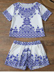 Short Sleeve Retro Floral Print T-Shirt and Shorts Set - BLUE AND WHITE