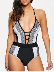 Sexy Halter Color Block Hollow Out Women's One-Piece Swimwear - WHITE AND BLACK