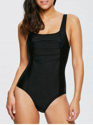 Sexy Square Neck Sleeveless Solid Color One Piece Women's Swimwear