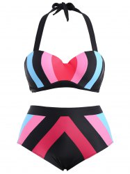 Plus Size High Waisted Contrast Bikini Set - BLUE AND PINK 2XL