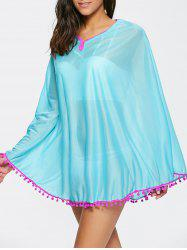 Poncho Fringed Beach Swing Tunic Cover Up Dress - LAKE BLUE