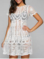 Embroidered Mesh Sheer Dresssy Tunic Cover Up