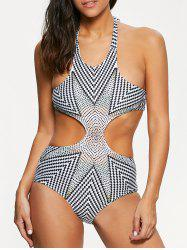 Halterneck Zig Zag Monokini One-Piece Swimsuit For Women