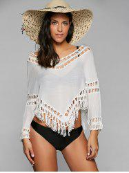 Chic Off-The-Shoulder 3/4 Sleeve Cut Out Women's Cover Up - WHITE