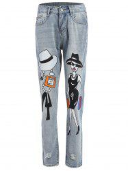 Figure Print Distressed Jeans
