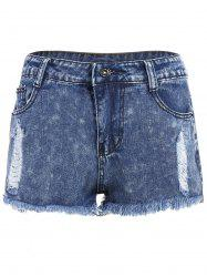 Ripped High Waisted Jeans Shorts - DEEP BLUE S