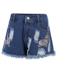 Floral Embroidered Frayed High Waist Jeans Shorts - DEEP BLUE