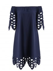 Openwork Off-The-Shoulder Shift Casual Dress Day - PURPLISH BLUE S