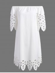 Openwork Off-The-Shoulder Shift Casual Dress Day - WHITE
