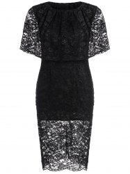 Lace Knee Length Capelet Sheath Dress