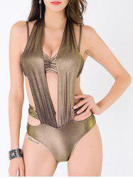 Metallic Cut Out Push Up Monokini Swimwear