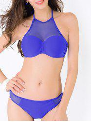 Mesh Panel Sheer Halter Bikini Set - BLUE XS