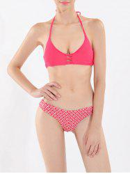 Halter Anchor Print Strappy Bikini Set