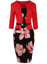 Floral Knee Length Pencil Fitted Work Dress -