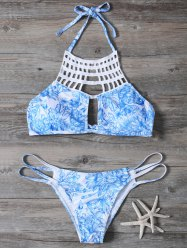 Cut Out Printed String Bikini Set